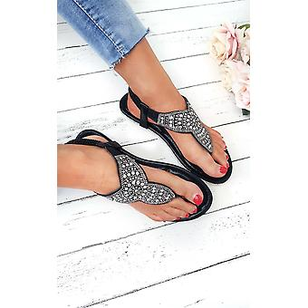 IKRUSH Womens Zania Diamante verschönert Schlepplift Sandalen