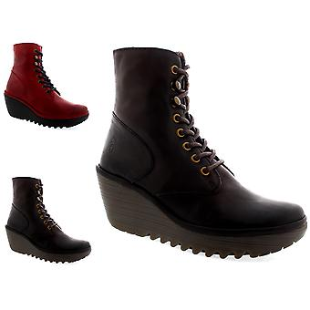 Womens Fly London Ygot Nevada Wedge Lace Up Casual Leather Ankle Boots