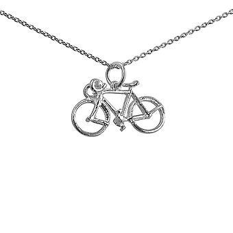 Silver 13x22mm Bicycle Pendant with a 1mm wide rolo Chain 24 inches