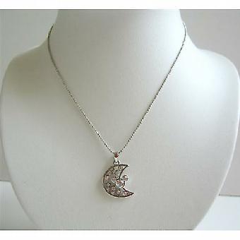 Simulierter Diamant Half Moon Anhänger-Halskette