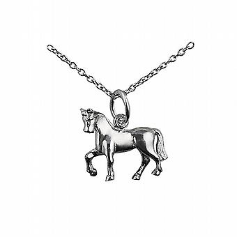 Silver 13x15mm unsaddled Horse Pendant with a rolo Chain 24 inches
