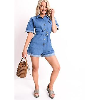 Jeans mit Gürtel-Dienstprogramm Playsuit blau