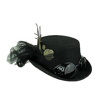 Zwarte Victoriaanse dames Steampunk hoge hoed met veren en Tulle Bow
