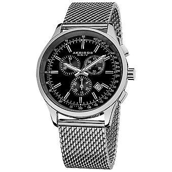 Akribos XXIV chronographe tachymètre en acier inoxydable cadran noir bracelet montre AK625SSB