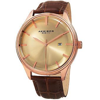 Akribos XXIV mäns klassiska datum läderrem Watch AK914RGBR