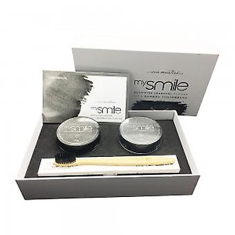 mysmile Activated Charcoal Powder & Bamboo Toothbrush - 2 x 30g Activated Charcoal Teeth Whitener + 2 x Bamboo ToothBrushes - Teeth Whitening Powder