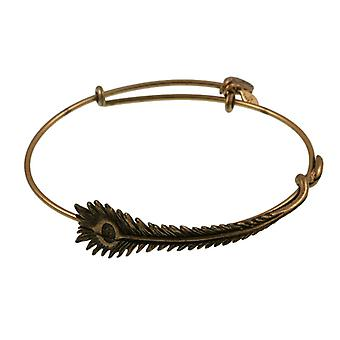 Alex and Ani Peacock Feather Wrap Gold Bangle A09EB132RG