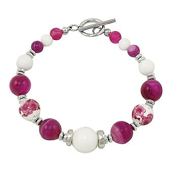 Eternal Collection Raspberry Delight White Mountain Jade And Fuchsia Agate Beaded Bracelet