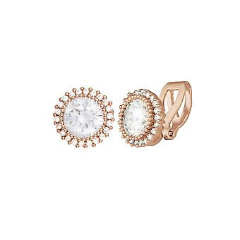 Eeuwige collectie Dazzle Cubic Zirconia Rose Gold Tone Stud Clip op oorbellen