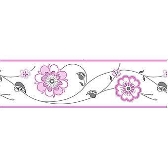 Fine Decor Pink Floral Wallpaper Border Self Adhesive White Silver Metallic