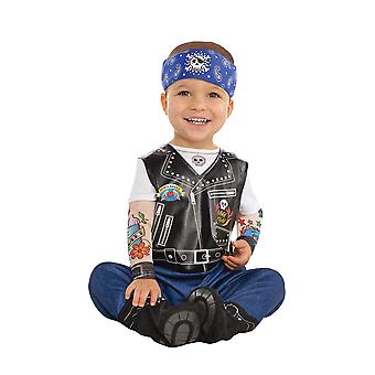 Småbarn baby Biker fancy dress kostym