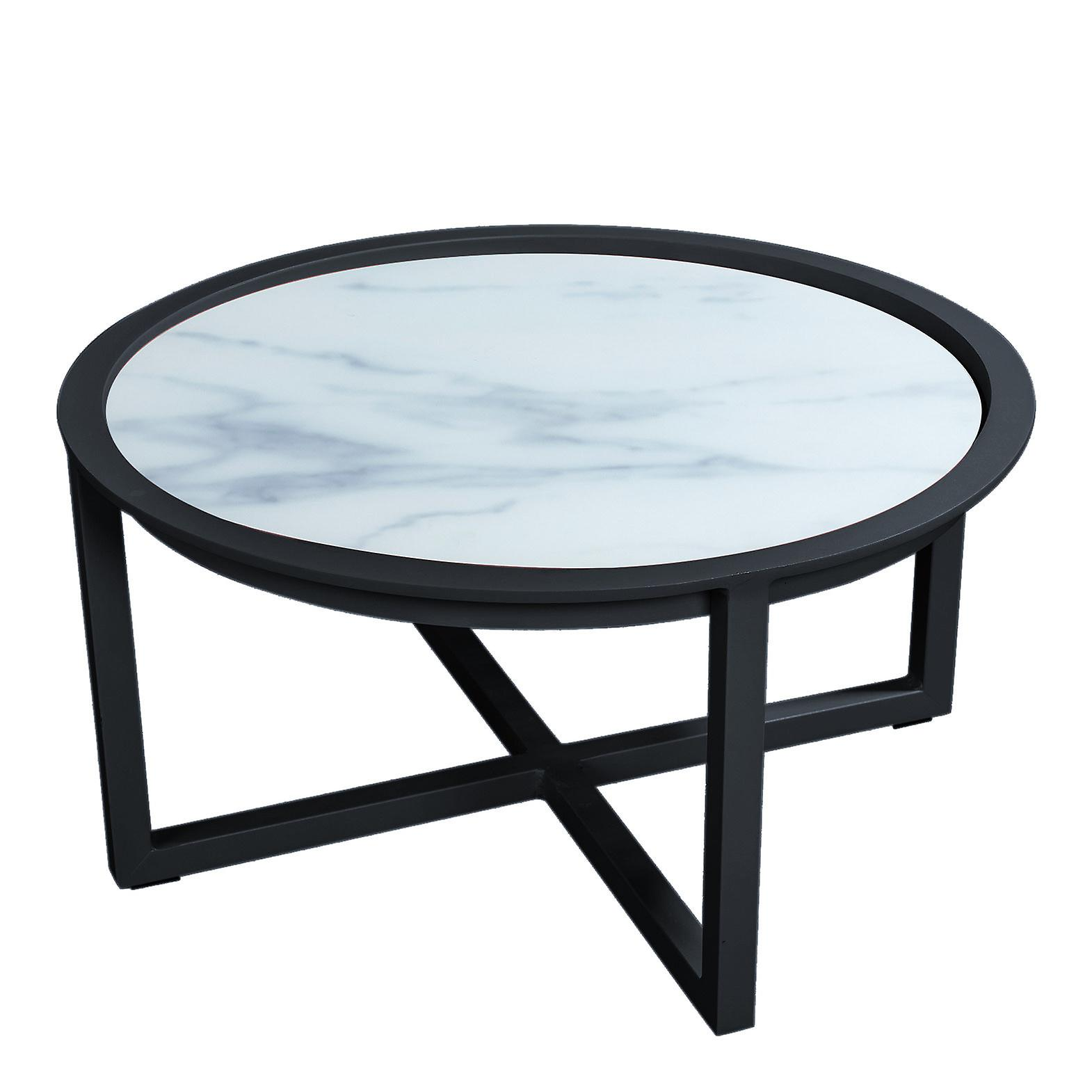 Plage7 - France QUEENS LOUNGE TABLE Alum/GLASS Marble Look 75CM  Noir