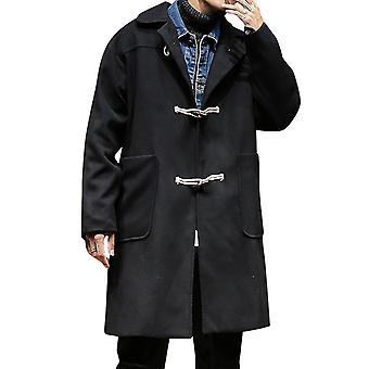Allthemen mænd ' s overfrakke løs revers horn knap bomuld Mid-lang frakke