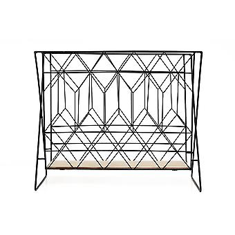 Newspaper Magazine Rack Rack Holder Black Metal Wire Wood Letter Industriale Standing