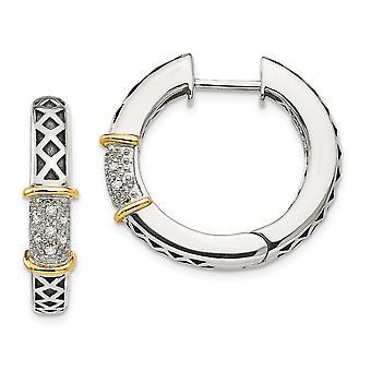 925 sterling zilver getextureerde gepolijst Prong set scharnierend hoepel antieke afwerking met 14 k diamanten oorbellen