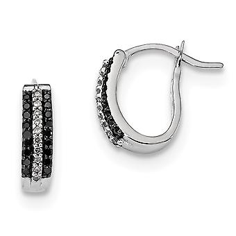 925 Sterling Silver Polished Prong set Black and White Diamond Earrings Jewelry Gifts for Women