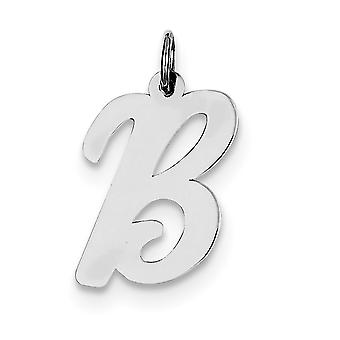 925 Sterling Silver Solid Polished Large Script Intial B Charm - .6 Grams
