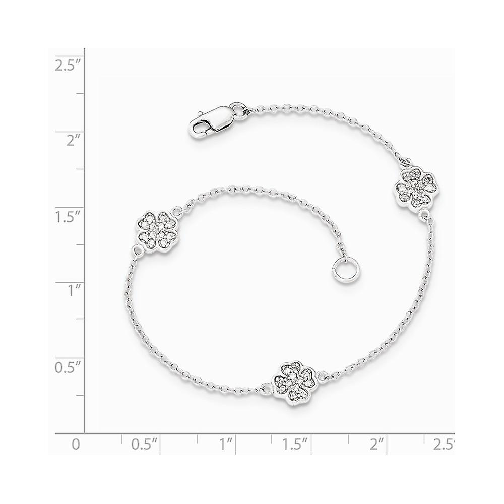 Aus China Fantastisk pris 925 Sterling Silver Polished CZ Cubic Zirconia Simulated Diamond Four Leaf Clover Bracelet 7 Inch Jewelry Gifts for Wome 0s4jc