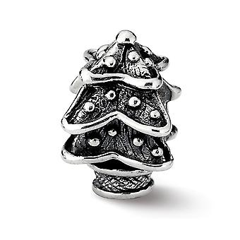 925 Sterling Silver Polished finish Reflections Christmas Tree Bead Charm Pendant Necklace Jewelry Gifts for Women