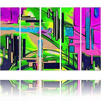 Vijf deel foto op canvas, Pentaptych, type C, abstract landschap 1