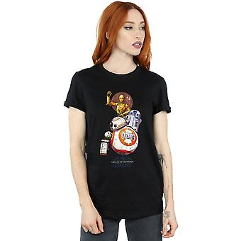 Star Wars The Rise Of Skywalker Droids Illustration Women's Boyfriend Fit T-Shirt