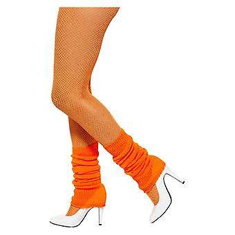 Womens Orange 80s scaldamuscoli costume accessorio