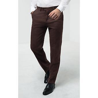 Dobell Mens Brown Flanela Spodnie garniturowe Regularne Dopasowanie