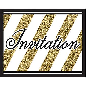 Creative Party Black And Gold Invitations (Pack Of 8)