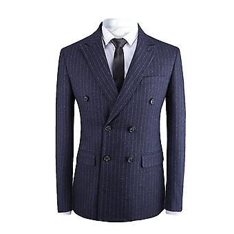 Allthemen mannen ' s Stripe double-breasted katoen Business Casual Suit jas