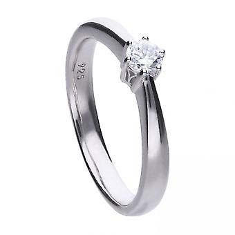Diamonfire Silver White Solitaire Zirconia Ring R3617