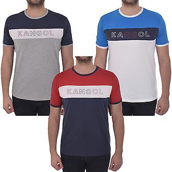 Kangol Mens Fitton Crew Neck Short Sleeve Cotton Colour Block Casual T-Shirt Top