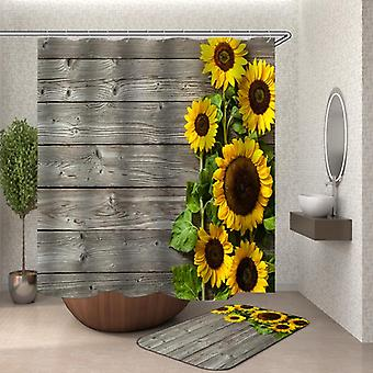 Rustic Deck Sunflowers Shower Curtain