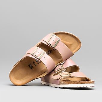 Birkenstock Arizona 1012876 (nar) Damen Wildleder zwei Strap Sandalen gewaschen Metallic Pink