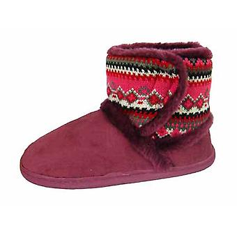 Coolers Womens Faux Fur Part Knitted Ankle Boot Slippers