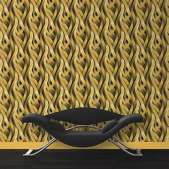 Yellow Ribbons Wallpaper Ugepa Muriva Textured Kinetic Designs