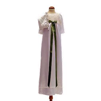 Dopklänning Och Dophätta I Off White, Ljus Grön Rosett. Ma.la