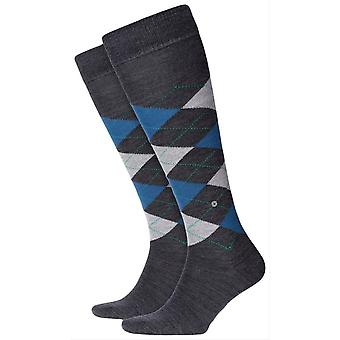 Burlington Edinburgh Knee High Socks - Anthracite/Blue