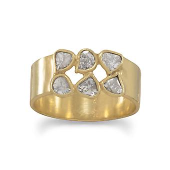 Gold Flashed Ster. Silver 6.5mm Band Ring Polki Diamonds Six 3mm Cut Polki Diamond .50 Ctw Jewelry Gifts for Women - Rin