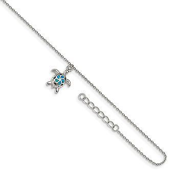 925 Sterling Silber Rhodium vergoldet simulierte blaue Opal Schildkröte mit 1 Zoll Ext. Fußkettchen 9 Zoll Schmuck Geschenke für Frauen