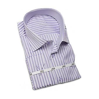 JSS Striped Lilac & White Slim Fit Shirt