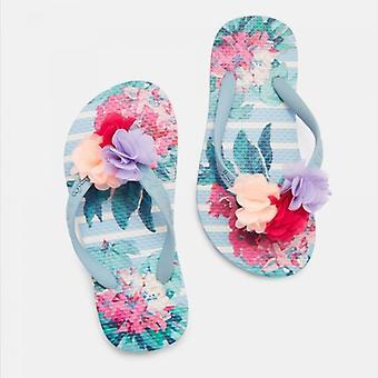 Joules Jnr Flip Flop Filles Sandales Blue Floral Stripe