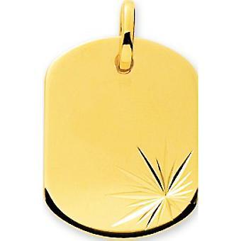 pendente Placa de barril ouro apedrejado 375/1000 amarelo (9K)
