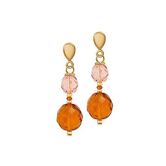 Eternal Collection Luisa Amber And Pink Crystal Gold Tone Drop Clip On Earrings