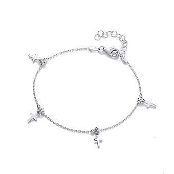 David Deyong Sterling Silver Cross Charm Bracelet