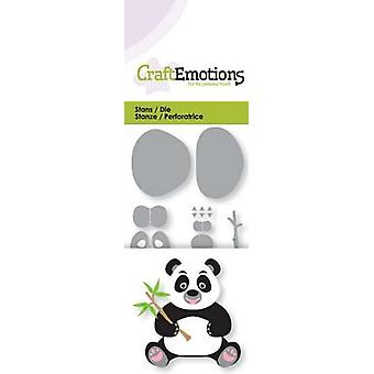 CraftEmotions Sterben - Panda mit Bambus Zweig 3D Karte 5x10cm