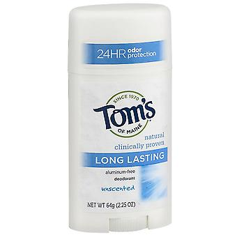Tom's of maine natural deodorant, unscented, long lasting, 2.25 oz