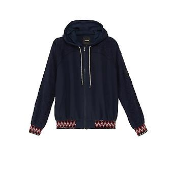 Desigual Women-apos;s Blue Larisa Hooded Jacket with Embroidered Lace Sleeves L
