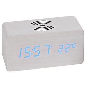 Atlanta 1129/0 Table alarm clock WIRELESS CHARGING white digital temperature date