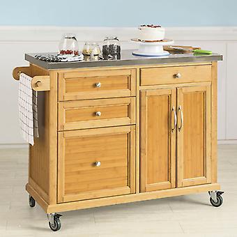 SoBuy ausziehbare Arbeitsplatte Trolley Kücheninsel Stauschrank, FKW70-N