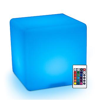 HOMCOM 40cm LED Cube Stool Chair Seat Table Floor Lamp Adjustable 16 RGB Colour Rechargeable Battery Remote Control